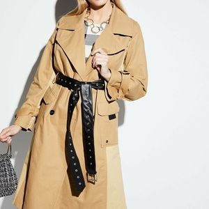 Avec Les Filles Colorblock Trench Coat NWT Belted